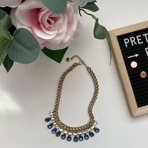 4/$15 Blue and gold Jewel chunky necklace